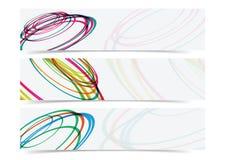Abstrakter Kurvenkreisfahnen-Titelhintergrund Stockfotos