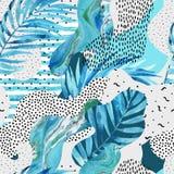 Abstrakter Kurvenverlaufhintergrund mit Blumen, Gekritzel, minimalistic Elemente Lizenzfreie Stockfotos