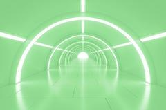 Abstrakter leerer glänzender Tunnel mit Licht am Ende Abbildung 3D Stockbilder
