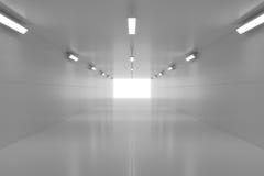 Abstrakter leerer glänzender Tunnel mit Licht am Ende Abbildung 3D Stockfoto