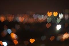 Abstrakter Liebes- oder Herzform bokeh Hintergrund von Kuala Lumpur Lizenzfreie Stockfotos