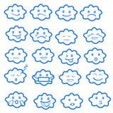 Abstrakter lustiger flacher Art emoji Emoticon-Ikonensatz, bewölken Blau Stockfotos