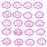 Abstrakter lustiger flacher Art emoji Emoticon-Ikonensatz, bewölken Rosa Lizenzfreie Stockfotos