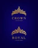 Abstrakter Luxus, königliches goldenes Firmenlogoikonen-Vektordesign vektor abbildung