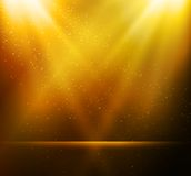 Abstrakter magischer Goldlichthintergrund Lizenzfreies Stockfoto