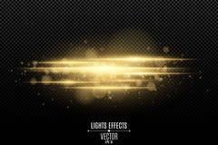 Abstrakter magischer stilvoller Lichteffekt auf einen transparenten Hintergrund Goldglühende Neonlinien in der Bewegung Leuchtend vektor abbildung