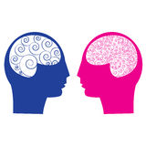 Abstrakter Mann gegen weibliches Gehirn Stockbild