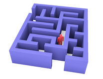 Abstrakter Mann kann kein Labyrinth verlassen Lizenzfreies Stockfoto