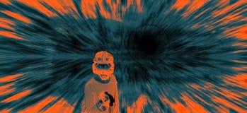 Abstrakter Mann in VR-Gläsern im Cyberspace stockbild