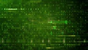 Abstrakter Matrixwürfel, der eine Quelle von Binärzahlen und Netz von nahtlosem Digital-Hintergrund umgibt vektor abbildung