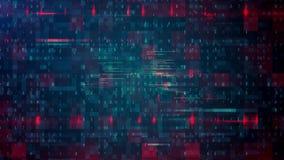 Abstrakter Matrixwürfel, der eine Quelle von Binärzahlen und Netz von nahtlosem Digital-Hintergrund umgibt stock footage