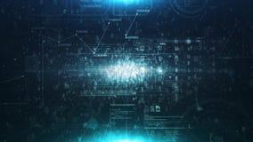 Abstrakter Matrixwürfel, der eine Quelle von Binärzahlen und Netz von nahtlosem Schleifungshintergrund umgibt stock footage