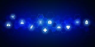 Abstrakter medizinischer Hintergrund mit flachen Ikonen und Symbolen Konzepte und Ideen f?r Gesundheitswesentechnologie, Innovati vektor abbildung