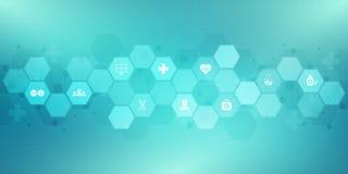 Abstrakter medizinischer Hintergrund mit flachen Ikonen und Symbolen Konzepte und Ideen f?r Gesundheitswesentechnologie, Innovati lizenzfreie abbildung