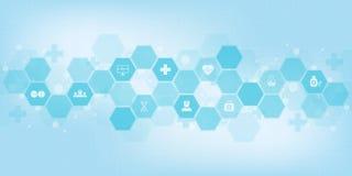 Abstrakter medizinischer Hintergrund mit flachen Ikonen und Symbolen Konzepte und Ideen f?r Gesundheitswesentechnologie, Innovati stock abbildung