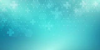 Abstrakter medizinischer Hintergrund mit Hexagonmuster Konzepte und Ideen f?r Gesundheitswesentechnologie, Innovationsmedizin stock abbildung