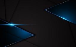 Abstrakter metallischer schwarzer blauer Rahmensport-Konzept- des Entwurfesinnovationshintergrund lizenzfreie abbildung