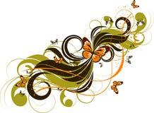 Abstrakter mit Blumenhintergrund mit butterlies Stockbild