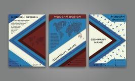 Abstrakter moderner Geschäfts-Flieger, Broschüre, Plakat, Jahresbericht, Titelseiten-Vektor-Schablone in blaues Brown-Farbe Mater Stockfotos