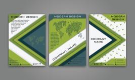 Abstrakter moderner Geschäfts-Flieger, Broschüre, Plakat, Jahresbericht, Titelseiten-Vektor-Schablone in der blauen, grünen Farbe Lizenzfreie Stockfotografie