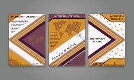 Abstrakter moderner Geschäfts-Flieger, Broschüre, Plakat, Jahresbericht, Titelseiten-Vektor-Schablone in der purpurroten, orange  Stockfoto