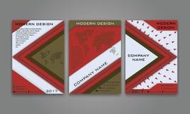 Abstrakter moderner Geschäfts-Flieger, Broschüre, Plakat, Jahresbericht, Titelseiten-Vektor-Schablone im Rot und Brown-Farbe mate Lizenzfreie Stockfotografie