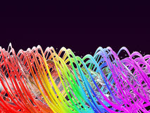 Abstrakter multi farbiger Regenbogenfrühlingshintergrund Regenbogen verdrehte Wellen Abbildung 3D Lizenzfreie Stockfotos