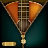 Abstrakter Musikhintergrund mit Gitarre und offenem Reißverschluss Stockfoto
