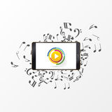 Abstrakter Musikspielknopf mit Anmerkung Vektor Lizenzfreies Stockbild