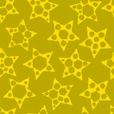 Abstrakter nahtloser gelber Hintergrund mit Sternen Vektor Lizenzfreies Stockbild
