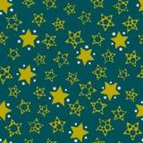 Abstrakter nahtloser Hintergrund mit Sternen im grünen Gamma Muster für Gewebe oder Kleidung Vektor Stockfoto