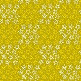 Abstrakter nahtloser karierter gelber Hintergrund mit den großen und kleinen Sternen Muster für Gewebe oder Kleidung Vektor Stockfotografie