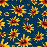 Abstrakter nahtloser Musterhintergrund Gelbe Blumen Stockfotografie