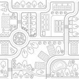 Abstrakter nahtloser Vektorhintergrund, Muster, Tapete, Hintergrund mit Häusern, Straßen, Bäume Urbaner Landschaftsplan Lizenzfreie Stockbilder