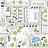 Abstrakter nahtloser Vektorhintergrund, Muster, Tapete, Hintergrund mit Häusern, Straßen, Bäume Urbaner Landschaftsplan Lizenzfreies Stockbild
