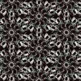 Abstrakter nahtloser weißer schwarzer Muster Ornamentalhintergrund Stockbild