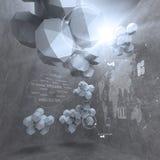 Abstrakter niedriger Entwurf des Polygons 3d für Wolkenvernetzungscomputer Stockbild