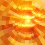Abstrakter orange glänzender Kreistunnelhintergrund Stockbild