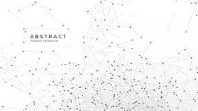 Abstrakter Partikelhintergrund Knoten angeschlossen im Netz Verwirren Sie Netz oder Internet Atom- und molekulares Muster Auch im vektor abbildung