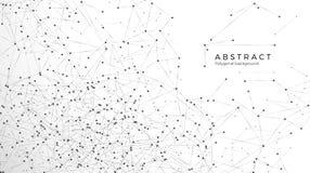 Abstrakter Partikelhintergrund Verwirrungsnetz Atom- und molekulares Muster Knoten angeschlossen im Netz Gro?e Daten der futurist stock abbildung