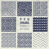Abstrakter Pen Drawing Seamless Background Patterns-Satz Lizenzfreie Stockbilder