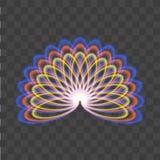 Abstrakter Pfau mit Neonlichtern auf transparentem Hintergrund Stockbilder