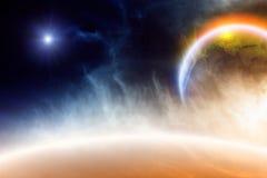 Abstrakter Planet im Platz lizenzfreies stockfoto