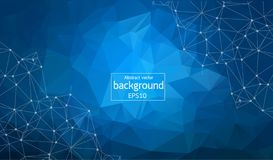 Abstrakter polygonaler blauer Hintergrund mit verbundenen Punkten und Linien, Verbindungsstruktur, futuristischer hud Hintergrund lizenzfreie abbildung