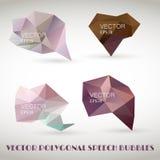 Abstrakter polygonaler Dreieckspracheblasenvektorsatz schablone Lizenzfreies Stockbild