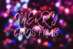 Abstrakter purpurroter bokeh Weihnachtshintergrund Modernes einfaches flaches Zeichen Modisches Dekorationssymbol für Website Stockfotos