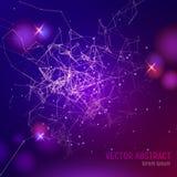 abstrakter purpurroter Hintergrund der Masche 3D mit Linien, Blendenflecken und glühenden Reflexionen Stockfoto