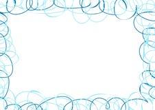 Abstrakter Rahmen mit blauen Gekritzeln Stockfotos