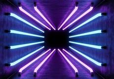 Abstrakter Raum mit Neonlichtern, Wiedergabe 3d stockfotografie