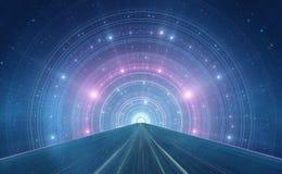 Abstrakter Raumhintergrund des neuen Zeitalters - intergalaktische Landstraße Stockbild
